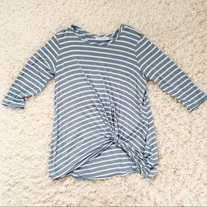 Light blue striped knotted maternity top